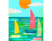 Regatta Sailboats 8x10 PRINT Sailboats Nautical Ocean Sea type collage    by Elizabeth Rosen