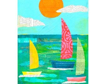 Regatta Sailboats 8x10 PRINT Sailboats Nautical Ocean Sea type collage    by Elizabeth Rosen