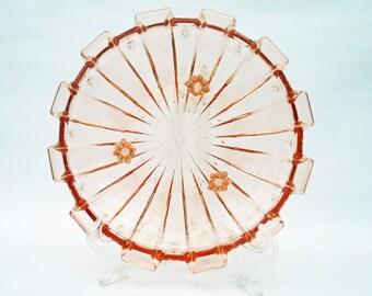 Pink Depression Glass Bowl, Footed Pink Glass Serving Plate, UK Seller