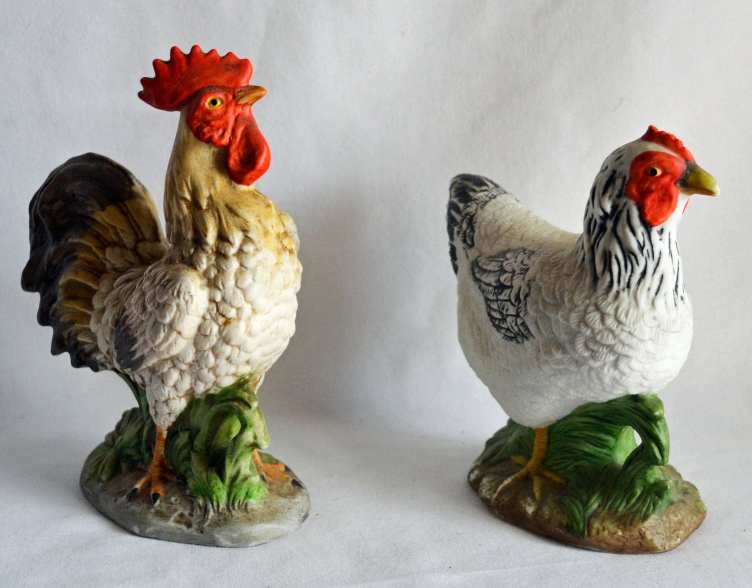 Seashell Home Decor Vintage Ceramic Chicken Amp Rooster Pair Farmhouse Decor
