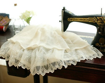 Ivory Lace Trim, Retro Bridal Lace Fabric, Embroidered Leaves Lace , for Bridal Gown Veil