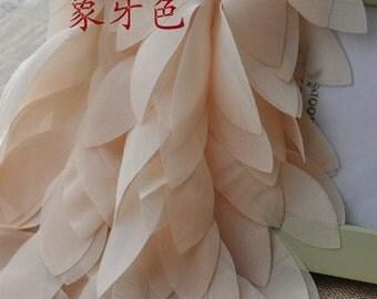 peach Chiffon Leaves Trim, Chair Sashes, Bridal Trim, Costum Lace Fabric, Wedding Decors