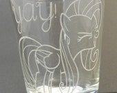"""Fluttershy """"YAY"""" Etched Shot Glass"""