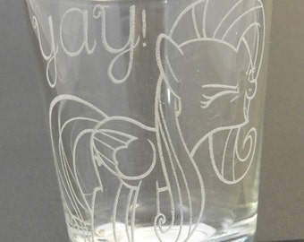 "Fluttershy ""YAY"" Etched Shot Glass"