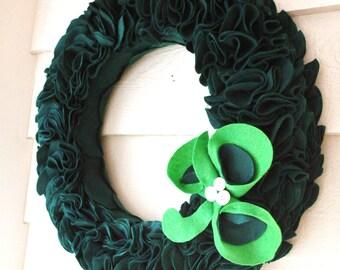 20 Inch- St. Patrick's Day Wreath Clover Emerald Greebn Felt Door Hanging Large