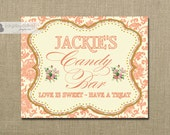 Candy Bar Sign Wedding Bridal Shower Damask Coral Gold Pink Printable 8x10 Classic Elegant Sign DIY Digital or Printed - Jackie Collection