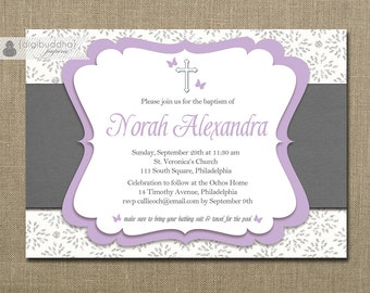 Butterflies Baptism Invitation Lilac Purple Gray Christening Shabby Damask Script Christian Cross Digital or Printed - Norah Style