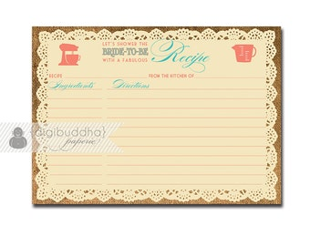 Lace Burlap Recipe Card Rustic Bridal Shower 5x7 4x6 3.5x5 DIY Printable or Printed Fill-In Coral Turquoise - Jackie Style