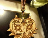 Majora's Mask Wooden Necklace leather