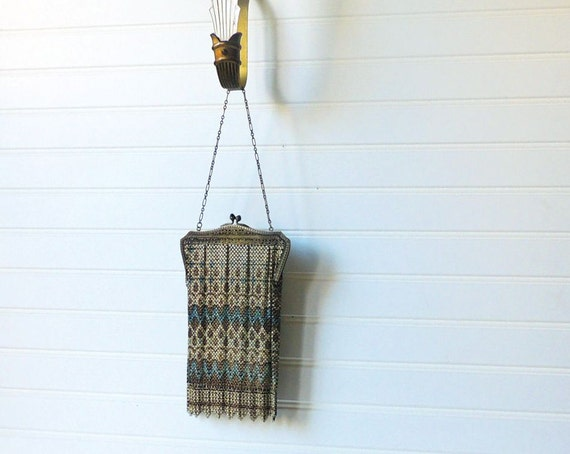 vintage 20s mesh handbag purse / Mandalian Art Deco