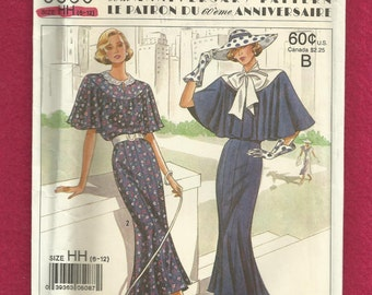 Vintage 1988 Simplicity 9360 60th Anniversary Pattern 1928 Dress with Capelet and Eight Gore Skirt Sizes 6-12 UNCUT