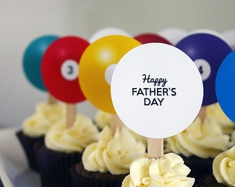 FATHERS DAY Printable Cupcake Toppers - Pool and Billiard Balls plus other greetings