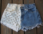SALE- Vintage London Jean studded and bleached cutoff shorts size 4