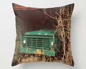 Decorative Throw Pillow Cover Ford Truck Aqua Green Teal Turquoise Barn Rustic Farmhouse Livingroom Couch Sofa Photo Case Home Bedroom Decor