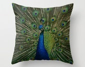 Decorative Throw Pillow Cover Peacock Emerald Green Cobalt Blue Feathers Photo Case Livingroom Couch Sofa Bed Vibrant Home Bedroom Decor