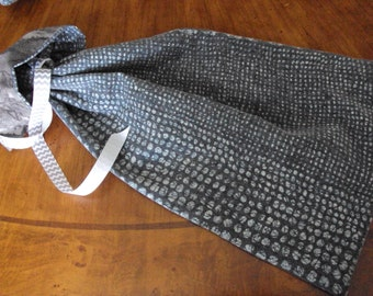 Shoe bags--one pair--Fathers day gift, graduates gift,  men's shoe bag--gray with blue dots