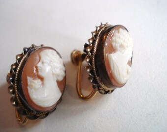 Lovely  SEASHELL CAMEO EARRIBGS  -  Sea Shell Cameo Earrings - Gold Filled - All Original  - Screw Back Style