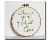 Green embroidery hoop quote / Hand stitched art / Made to order / Your choice of colors / 5 inch size