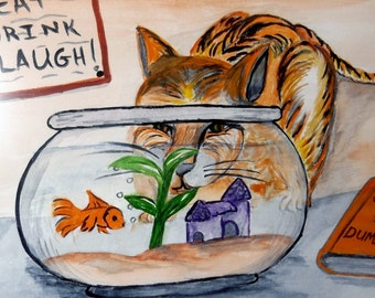 Original Watercolor Painting Dinner Time  Hungry Cat  Gold Fish On The Menu Vintage Frame