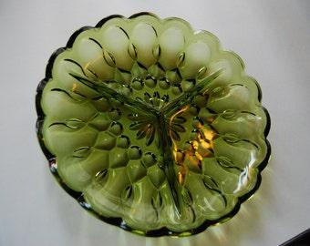 Avocado Green Divided Relish / Tidbit Glass Tray