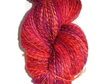 Valentine Dream Luxury Handspun and Hand Dyed 3-ply Bluefaced Leister  BFL Wool Sock Yarn - Warm Red and Pink