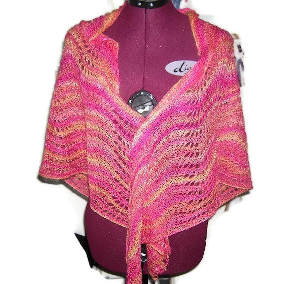 Exclusive Shawl, Hand-Knitted  In Handspun, Hand Dyed Bamboo - Mothers Day Gift