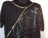 Vintage Sequined Dressy Top/Vintage Plus Size Top/New w Tags
