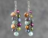 Colorful pearl dangling chandelier earrings Bridesmaid gifts Free US Shipping handmade Anni designs