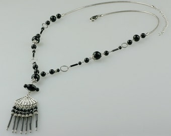 Black onyx long lariat necklace Bridesmaid gifts Free US Shipping handmade Anni designs
