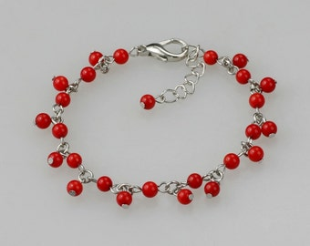 Red coral charm bracelet bridesmaids gifts Free US Shipping handmade Anni Designs