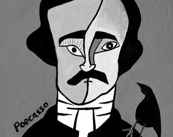 Poecasso // Edgar Allen Poe Picasso pun art print