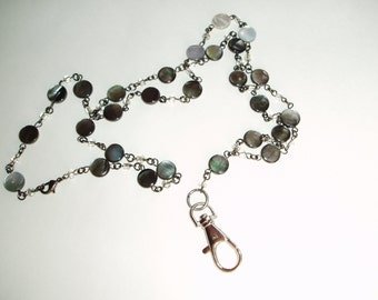 Beaded Lanyard - Black and Silver Shell Beaded Fancy ID Badge Holder For Women