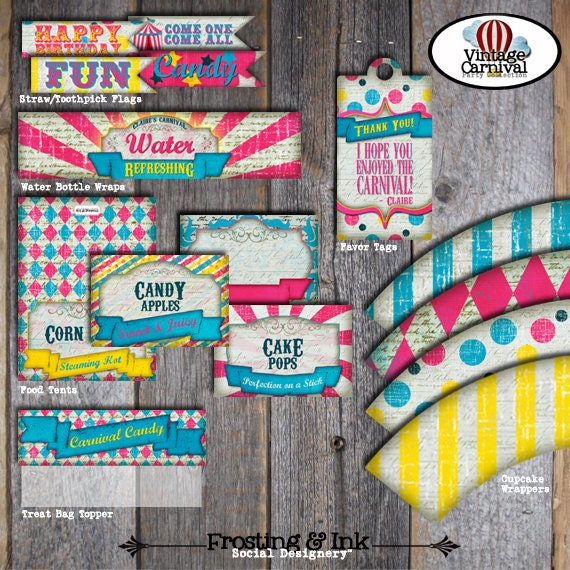 Carnival Party Circus Party Food Tents Buffet Labels