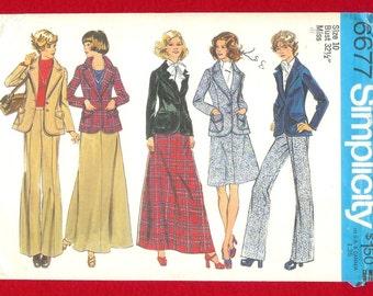 Vintage 1974 Simplicity 6677 Jacket,  Pants, and Long Skirt, Misses' Size 10 UNCUT