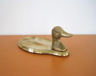 Vintage Brass Duck Desk Organizer, Change Dish