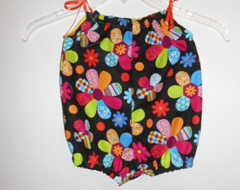 Handmade Baby Romper, Bright colorful flowers, size 6 months