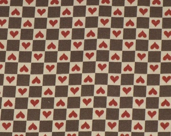 Vintage Hearts Cotton Fabric Cocoa Brown and Tan Checks with Brick Red Hearts 1980's Material 1/2 Yard