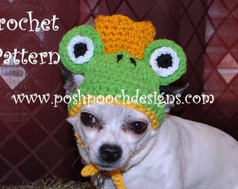 Instant Download  Crochet Pattern - Dog Frog Costume - Small Dog Sweater and Hat 2-20 lbs