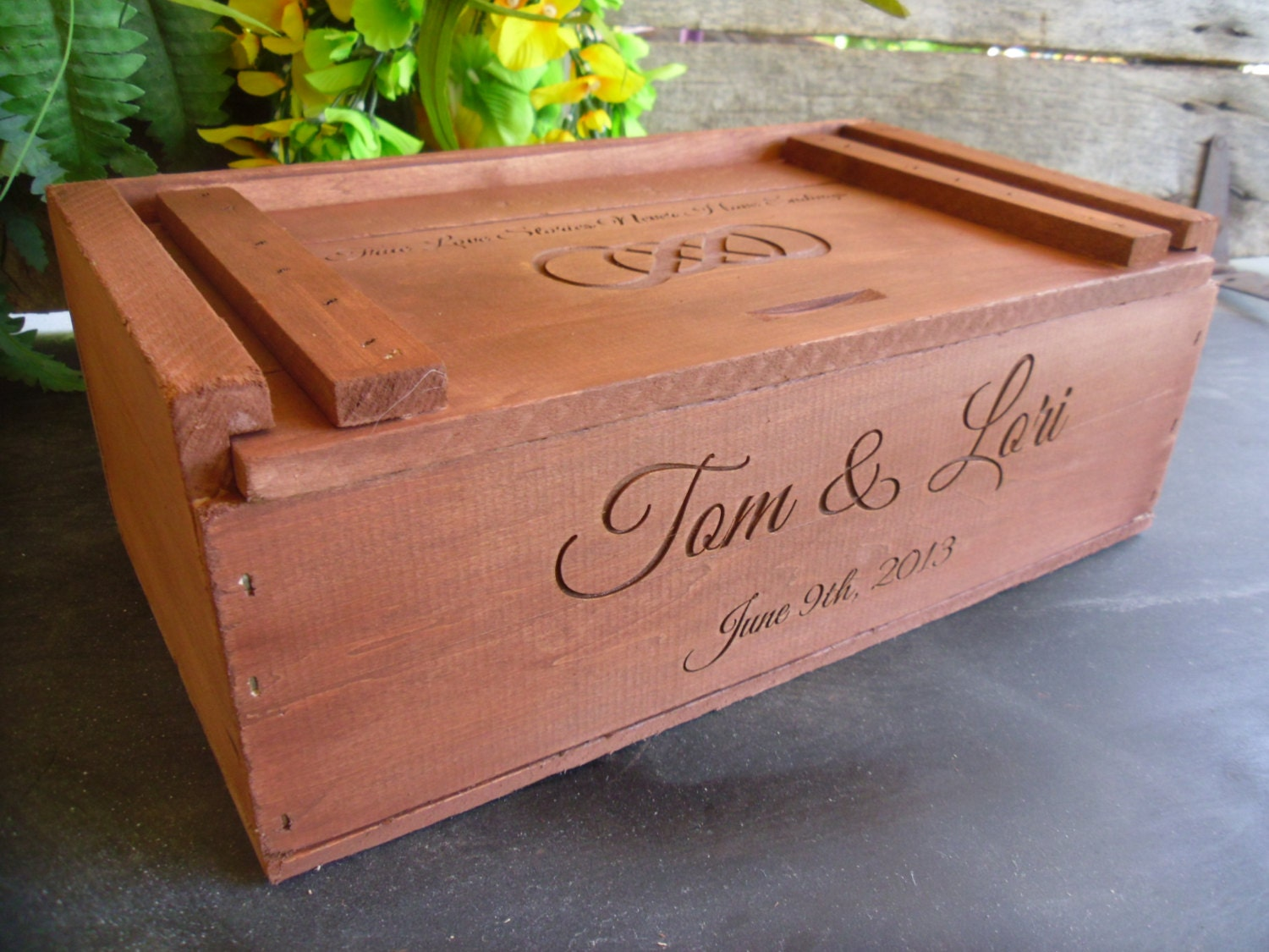 Wedding Ceremony Gift: Wine Box For Rustic Wedding Ceremony Or Gift By
