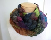 Entrelac Long Scarf in Yellow, Blue, Black, Green, Brown, Purple, Turquoise and Orange Colors