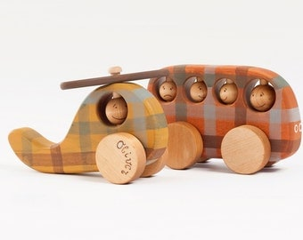 Personalized Wooden Toys Vehicles, Organic Toys For Toddlers, Wooden Helicopter and Wooden Bus