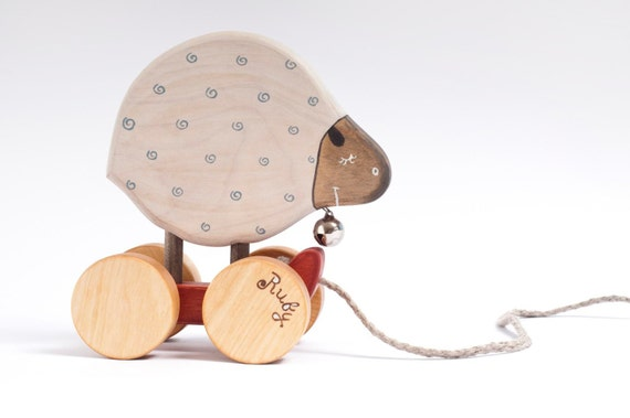 Personalized Wooden Pull Toy Sheep natural kids toy