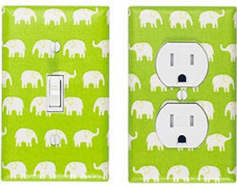 Lime Green Elephant Light Switch Plate & Outlet Cover SET OF 2 / Gender Nuetral Nursery Decor / Kids Room / Slightly Smitten Kitten