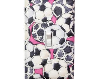 Girls Soccer Light Switch Plate Cover / Pink Black Gray / Teen Tween Girl / Pretty Sporty