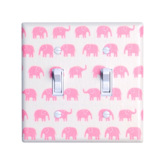 Pink Elephant Nursery Light Switch Plate Cover Baby Girl