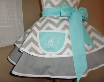 MamaMadison Custom Apron Options...Add A Lace Trimmed Monogrammed Pocket To Any Apron Purchase...APRON IS ADDITIONAL