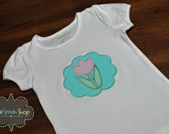 Tulip Scallop Patch Appliqued  Easter Shirt