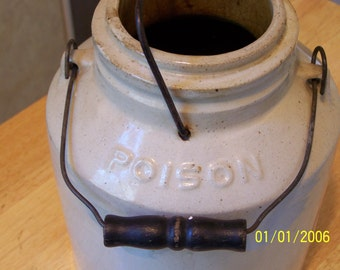 Pyrox Poison, 1880 BOWKER INSECTICIDE CO, Large Ceramic clean container, Cool Home decor....