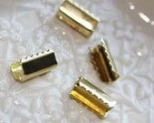 25pcs ..For DIY Hair Ponytail Holder Pinch Crimps Connectors in Gold