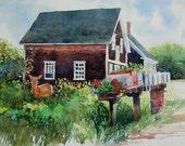 watercolor ORIGINAL Island Neighbors deer mailbox house flowers geraniums watercolour